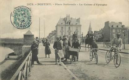 """CPA FRANCE 56 """"Pontivy, Place Nationale, banque La Caisse d'Epargne"""""""