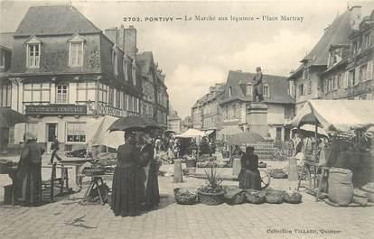 """CPA FRANCE 56 """"Pontivy, Le Marché aux légumes, Place Martray"""""""