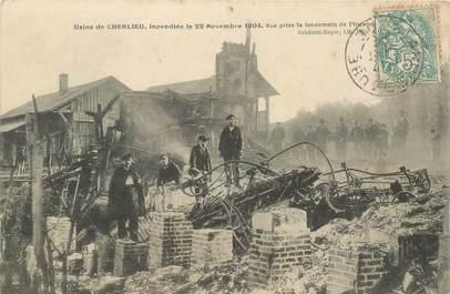 """CPA FRANCE 10 """"Usine de Cherlieu, incendiée 1904"""""""