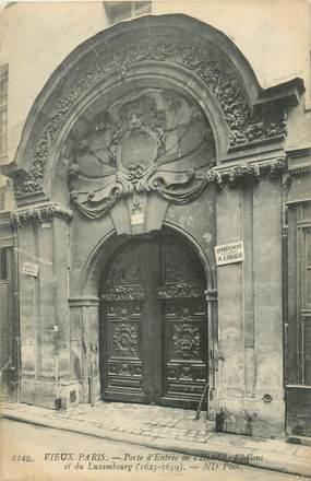 """CPA FRANCE 75004 """"Paris, Porte d'entrée de l'Hotel de Châlons et du Luxembourg"""""""