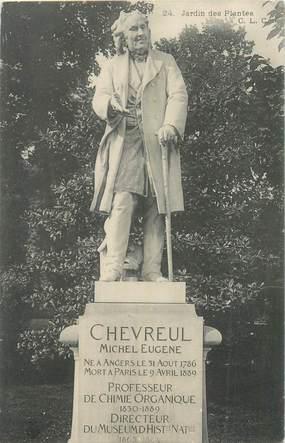 """CPA FRANCE 75005 """"Paris, Jardin des Plantes, Statue Michel Eugène CHEVREUL"""""""