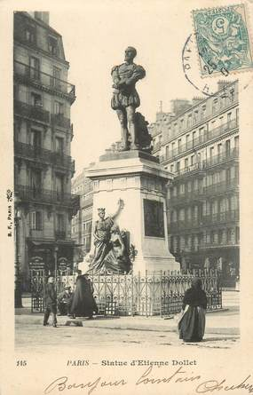 "CPA FRANCE 75005 ""Paris, Statue d'Etienne Dollet"""