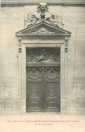 """CPA FRANCE 75005 """"Paris, Porte de l'Eglise Saint Nicolas du Chardonnet, rue des Bernardins"""""""