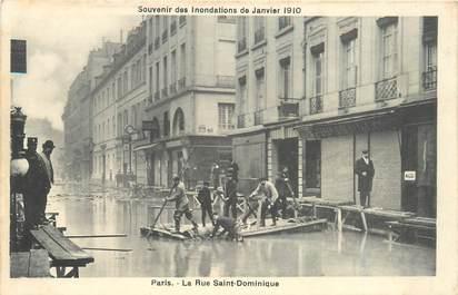 """CPA FRANCE 75007 """"Paris, la Rue Saint Dominique"""" / INONDATIONS 1910"""