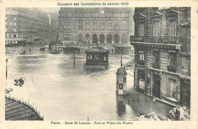 """CPA FRANCE 75008 """"Paris, Inondations 1910, Gare Saint Lazare et rue de Rome"""""""