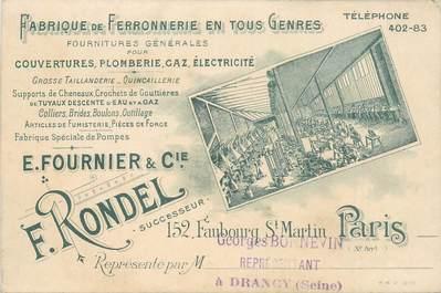 """CPA FRANCE 75010 """"Paris, Fabrique de Ferronnerie, Etablissement E.FOURNIER & Cie, Faubourg Saint Martin"""""""
