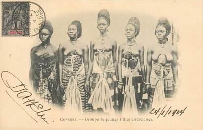 """CPA GUINEE """"Conakry, groupe de jeunes filles circoncises"""" / NU"""
