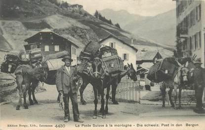 """CPA SUISSE """"La Poste suisse à la montagne"""""""
