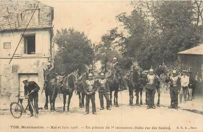 """CPA FRANCE 75018 """"Paris, 1906, Montmartre, peloton du 5e cuirassiers"""""""