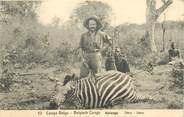 """Afrique CPA CONGO BELGE """"Chasse au zèbre"""""""