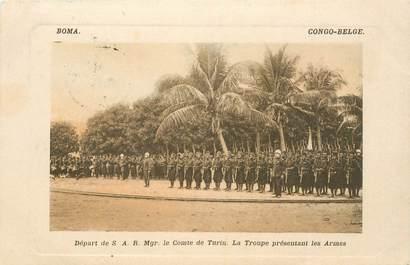"""CPA CONGO BELGE """"Troupe présentant les armes"""""""