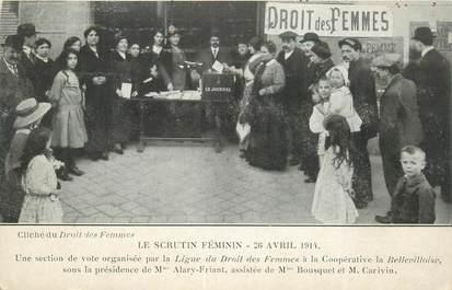 "CPA FEMINISME ""Eléctions 1914, le scrutin féminin"""