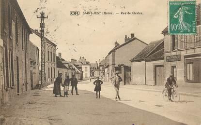 """/ CPA FRANCE 51 """"Saint Just, rue de Clesles"""""""