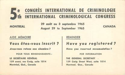 "CPA CANADA ""Montreal, Congres international de criminologie"""