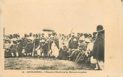 """CPA ETHIOPIE """"Abyssinie, Addis Abbeba, l'Empereur Ménélik et les ministres européens"""""""