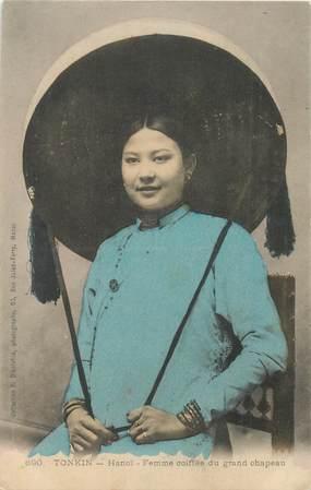 "CPA VIETNAM / INDOCHINE ""Tonkin, Hanoï, Femme coiffée du grand chapeau"""