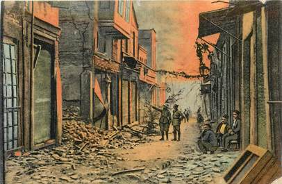 "CPA GRECE SALONIQUE ""La rue Tunsky incendiée"""