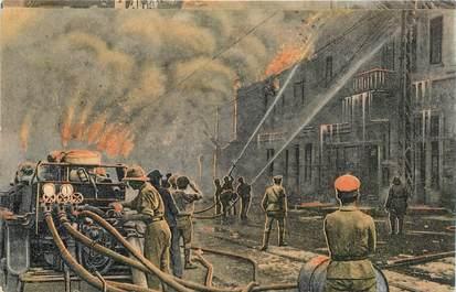 """CPA GRECE SALONIQUE """"Soldats anglais et français éteignent le feu"""""""