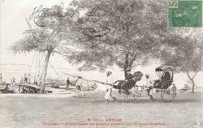 """CPA VIETNAM """"Annam, promenade en pousse pousse sur le quai Courbet"""""""