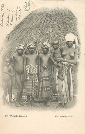 """CPA AFRIQUE / SENEGAL """"Famille Soussou"""" / NU"""