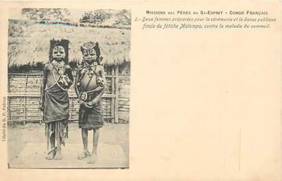"""CPA AFRIQUE / CONGO """"en tenues pour cérémonie de la danse du fétiche"""" / NU"""