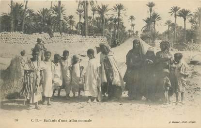 """CPA ALGERIE / SCENES ET TYPES / GEISER """"Enfants d'une tribu nomade"""""""