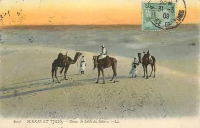 """CPA TUNISIE """"Dans le sable du Sahara"""""""