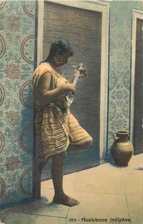"""CPA TUNISIE / LEHNERT & LANDROCK """"Musicienne indigène"""""""