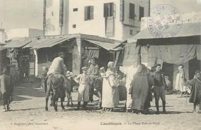 """CPA MAROC """"Casablanca, la place Bab El Souk"""" / JUDAICA"""