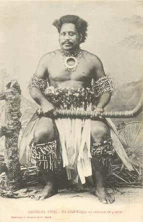 "CPA FIDJI ""Un chef Fidjien en costume de guerre"""