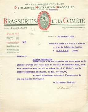 "FACTURE FRANCE 75008 ""Paris, Brasserie de la Comète, Bld Haussmann"" / BIERE / BRASSERIE / DISTILLERIE / 1943"