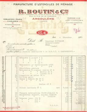 """FACTURE FRANCE 16 """"Angoulême, Manufacture d'Ustensiles de Ménage, R. BOUTIN & Cie"""" / 1958"""