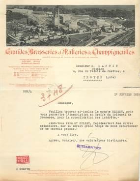 """FACTURE FRANCE 10 """"Brasseries et Malteries de Champigneulles, 1935"""""""