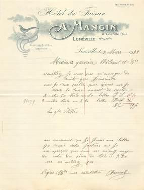"FACTURE FRANCE 54 ""Lunéville, A. MANGIN, Hotel du Faisan"" / 1923"