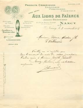 """FACTURE FRANCE 54 """"Nancy, Aux Lions de Faïence, Produits céramiques Verrerie Porcelaine, 1913, J. BERBARD"""""""