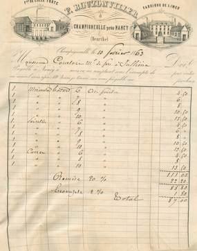 """FACTURE double FRANCE 54 """"Champigneulles, Fabrique de Limes, F. BOUZONVILLER, 1863"""""""