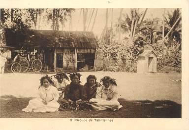 """CPA TAHITI """"Groupe de tahitiennes"""" / PUB Produits pour métaux au verso"""