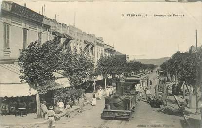 """CPA ALGERIE """"Ferryville, avenue de France, TRAIN"""""""