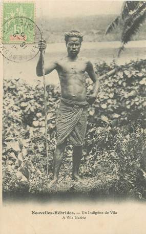 """CPA NOUVELLES HEBRIDES / VANUATU """"Indigène de Vila"""" / 1909"""
