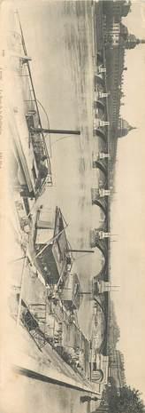 """CPA PANORAMIQUE FRANCE 69 """"Lyon, le pont de la Guillotière"""" / BATELLERIE / PENICHE"""