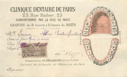 """Petit papier FRANCE 75 """"Paris, rue Richer, Clinique dentaire"""" / DENTISTE"""