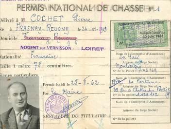 Petit papier PERMIS NATIONAL de CHASSE