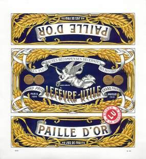 """PAPIER PUBLICITAIRE BISCUIT LEFEVEVRE UTILE """"Paille d'Or"""""""