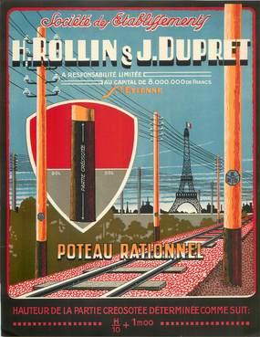 """PAPIER PUBLICITAIRE """"Entreprise H.Rollin & J.Dupret, Poteau électrique"""""""
