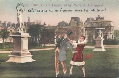 """CPA FRANCE 75 """"Paris"""" / Série """"N°18, Le Louvre et la Place du Carrousel"""""""