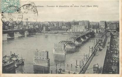 """CPA FRANCE 92 """"Asnières, travaux de démolition du vieux pont"""""""