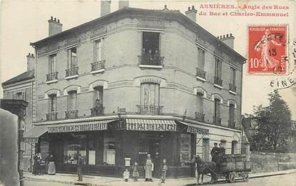 """CPA FRANCE 92 """"Asnières, angle des rues du bac et Charles Emmanuel"""""""