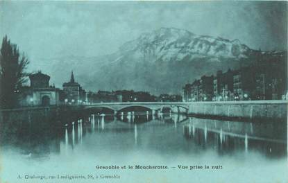 """CPA FRANCE 38 """"Grenoble et le Moucherotte"""" / BLEU A LA LUNE"""