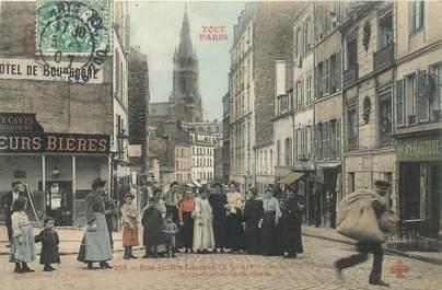 """CPA FRANCE 75020 """"Paris, Rue Julien Lacroix, Eglise Notre Dame de la Croix"""" / Collection TOUT PARIS / COLORISÉE"""
