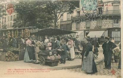 """CPA FRANCE 75020 """"Paris, Bld de Ménilmontant, Jour de Marché"""" / Collection TOUT PARIS / COLORISÉE"""